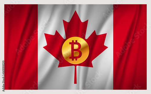Spoed Foto op Canvas Canada Bitcoin on the national waving flag of Canada country