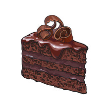 Hand Drawn Piece Of Layered Chocolate Cake With Icing And Shavings, Sketch Style Vector Illustration Isolated On White Background. Realistic Hand Drawing Of Piece, Slice Of Chocolate Cake