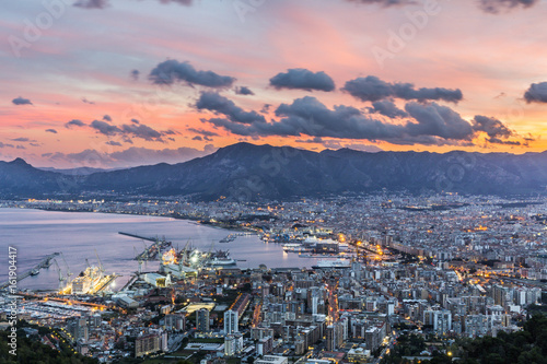 Foto auf Leinwand Palermo Aerial view of Palermo at sunset, Italy