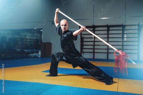 In de dag Kinderkamer Wushu master training with spear, martial arts