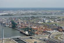 Aerial Image Of DP World Antwerp At Deurganck Dock Terminal With Container Ship MSC Alyssa