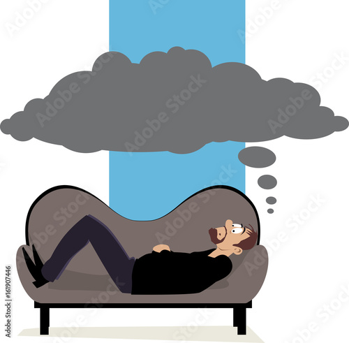 Fototapeta Man lying on a psychiatrist's couch having a dark cloud of thoughts above his he
