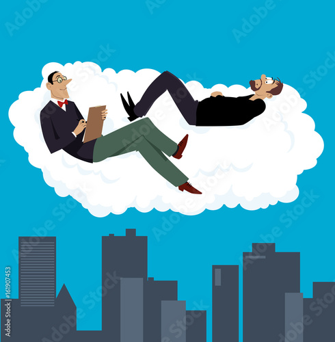Fotografija  Psychiatrist having a therapy session with his patient on a cloud above a city,