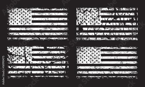 Fototapeta USA American grunge flag set, white isolated on black background, vector illustration. obraz