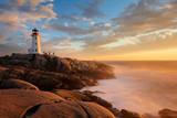 Light House at Peggy Cove at Sunset, Nova Scotia, Canada
