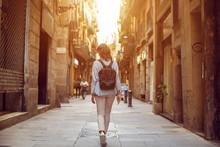 Traveling Female Walking On  E...