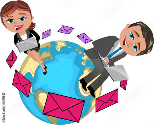 businesswoman and businessman working with laptop sitting on the world exchangin Canvas Print