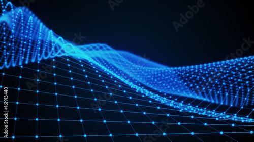 Zdjęcie XXL Streszczenie 3d powierzchnia wygląda jak lejek. Futurystyczny styl technologii. Perspektywa siatki tekstura tło. 3d ilustracja.