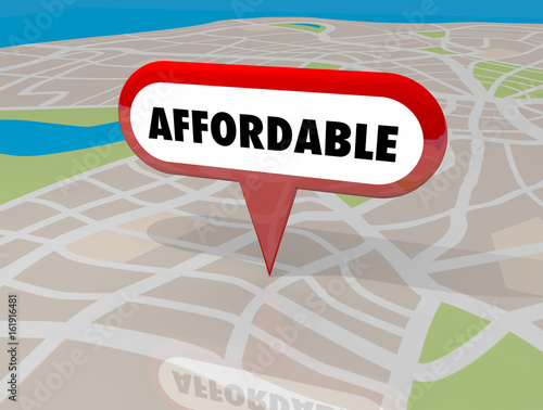 Affordable Housing Real Estate Building Property Map Pin 3d Illustration Canvas Print