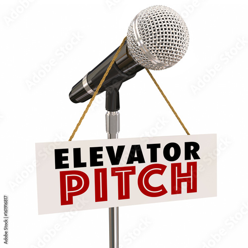 Fotografie, Obraz  Elevator Pitch Microphone Proposal Persaude Investors Customers 3d Illustration