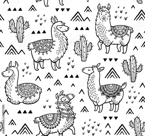 plakat Contour seamless pattern with alpaca and cactuses. Coloring book page