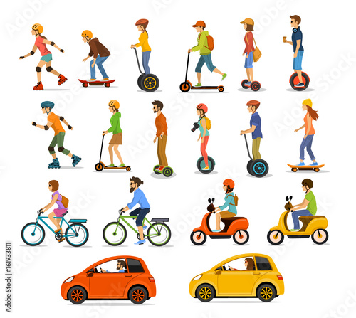 Fotografía  People, men and women riding modern electric scooters, cars, bicycles , skateboards,segway,hoverboard