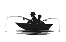 Father And Son Fishing On Boat...