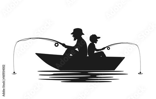 Obraz na plátne father and son fishing on boat on a lake silhouette