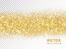 Sparkling Glitter Border Isolated On Transparent Background, Vec