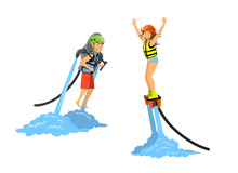 Man And Woman Flyboarding And ...