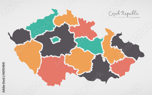 Fotografie, Tablou  Czech Republic Map with states and modern round shapes