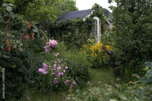 Hut and flowers in garden