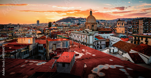 Stunning view of Naples in Italy on a sunset