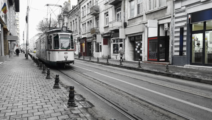 old street and tram railway in Iasi city of Romania
