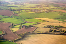 Aerial View On Field Plots In Contrasting Colours