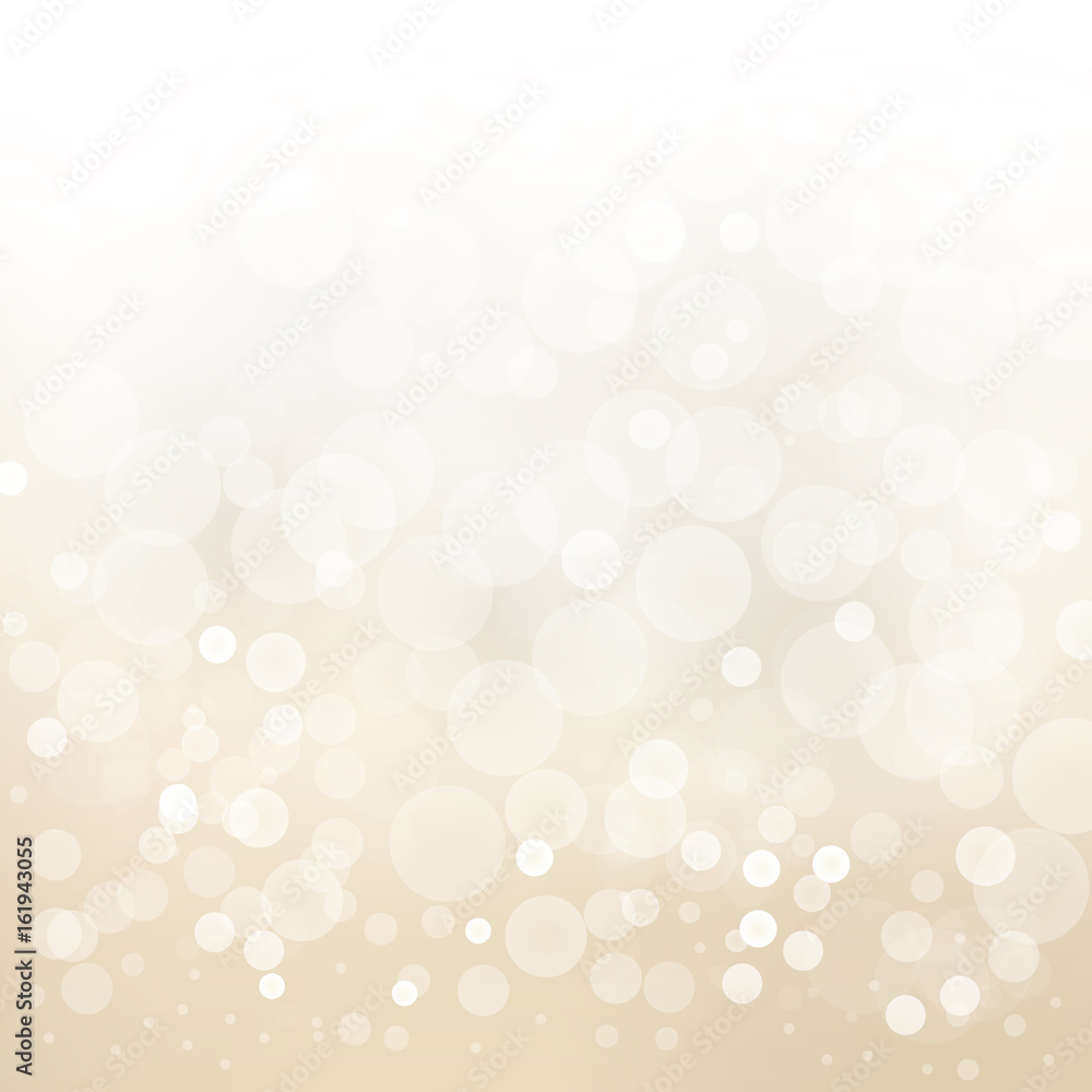 Fototapety, obrazy: white gold light background abstract design vector blur circle bokeh.