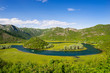Landscape, turn of the river in Montenegro, mountains