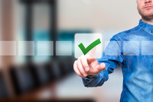 Young Male Hand Touching, Pressing Modern Button And Ticking Check Box Out Of Empty Boxes On Digital Screen Interface. Isolated On Office Business Technology Concept. Stock Image