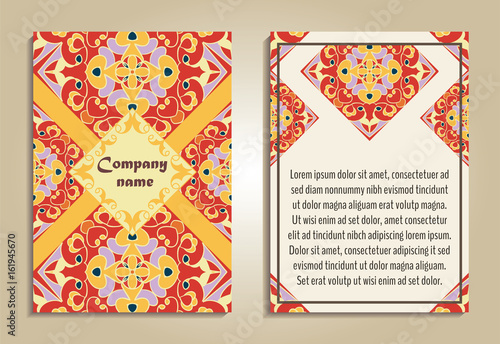vector set of colorful brochure templates for business and invitation portuguese moroccan spanish - Colorful Brochure Templates