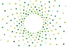 Abstract Vector Green Polka Dots Frame Isolated On White Background