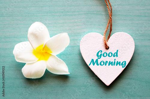 Good Morningcorative White Wooden Heart With Frangipani Flower