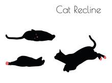 Cat Silhouette In Recline Pose