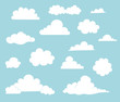 Leinwandbild Motiv Cartoon Cloud Illustration Set