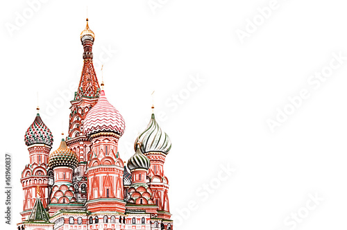 Obraz na plátně Saint Basil's Cathedral illustration - Color Pencil