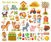 Farm Set With Animals, Pets, Livestock And Vegetables On A White Background. Young Farmers And Farming. Vector Illustration.