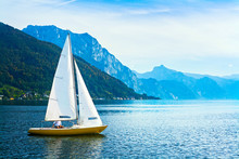 Sailing Boat On The Lake Traunsee, Austria