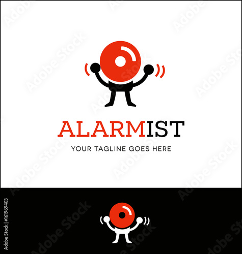 Photo logo or icon design of a fire alarm with arms and legs, hitting itself in the head