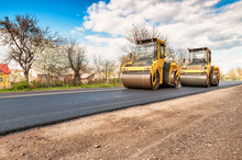 Two Working Road Rollers