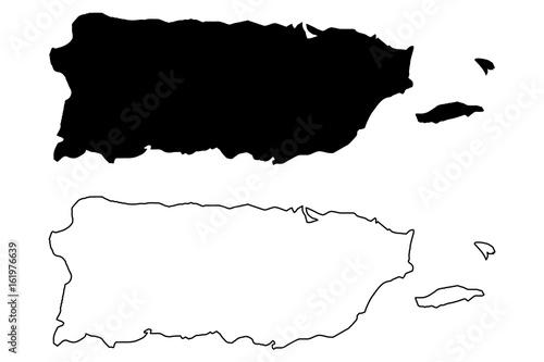 Obraz Puerto Rico map vector illustration, scribble sketch  Puerto Rico - fototapety do salonu