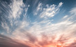 canvas print picture - Dramatic sky at sunset, the contrast of Cirrus cloud shapes,