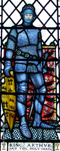 King Arthur in stained glass Canvas Print