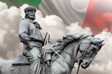 Giuseppe Garibaldi, The Hero Of Two Worlds Equestrian Statue With Italian Flag On Background