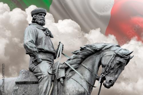 Fotografie, Obraz  Giuseppe Garibaldi, the Hero of Two Worlds equestrian statue with italian flag o
