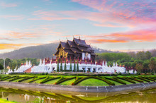 The Royal Pavilion (Ho Kham Luang) In Royal Park Rajapruek Near Chiang Mai, The Most Famous Tourist Attraction In Thailand.