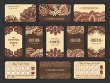 Coffee Card Design Set In Indi...