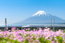 Tokaido Shinkansen Bullet Train Passing By Mount Fuji, Yoshiwara, Shizuoka Prefecture, Japan