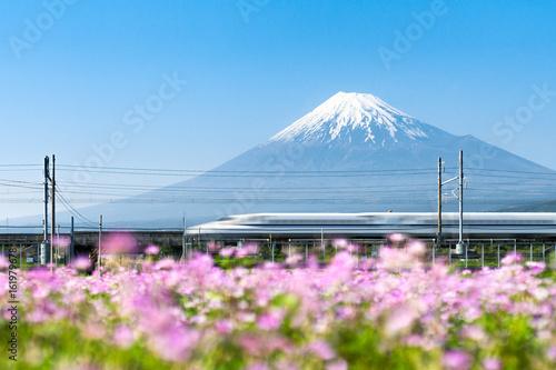 Fototapeta premium Tokaido Shinkansen pociąg pocisk przechodzi przez Mount Fuji, Yoshiwara, Prefektura Shizuoka, Japonia