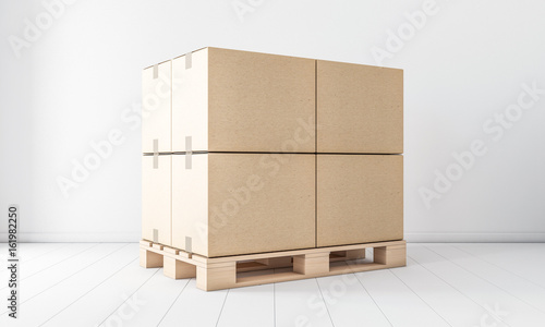 Stampa su Tela Stack of Four Brown cardboard boxes mockup on euro pallet, in white room, 3d ren