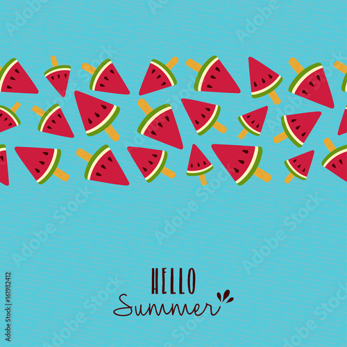 Hello summer quote watermelon pattern card design Wallpaper Mural