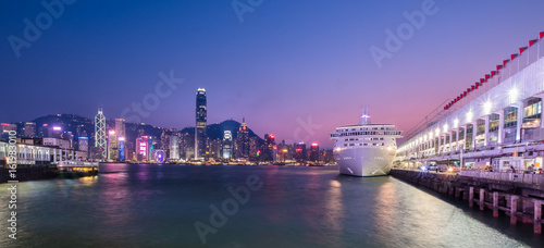 Ocean Terminal, Victoria Harbour, Hong Kong   - April 30, 2017 : Ocean Terminal  is a cruise terminal and shopping centre located on Canton Road in Tsim Sha Tsui, Kowloon, Hong Kong.
